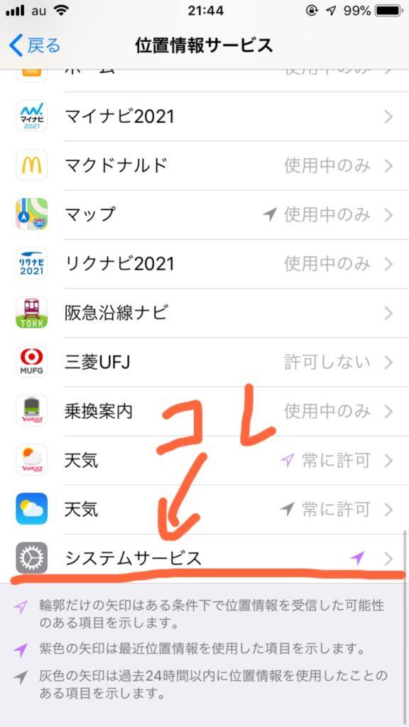 位置情報サービスの画面