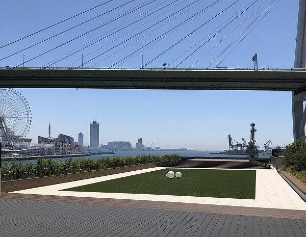 リーベルホテルから見える芝と海遊館